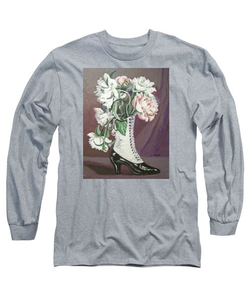 Long Sleeve T-Shirt featuring the painting Booted Peonies by Laura Aceto