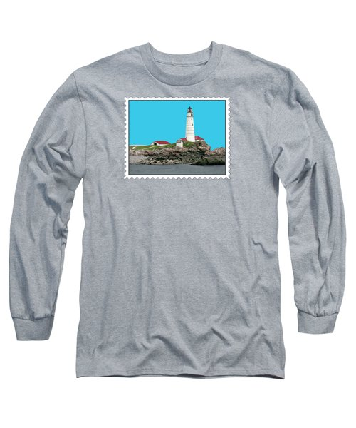 Boston Harbor Lighthouse Long Sleeve T-Shirt by Elaine Plesser