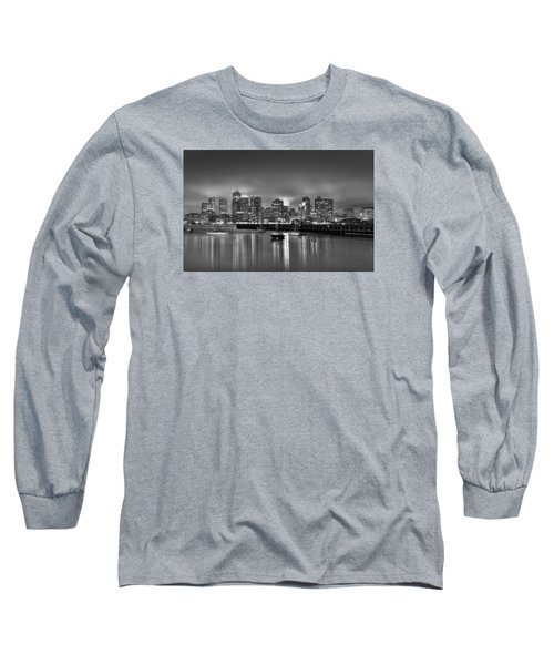 Boston In Black And White Long Sleeve T-Shirt by Brendan Reals