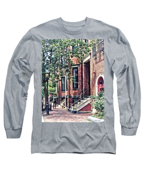 Boston Ma - Walking The Dog On Mount Vernon Street Long Sleeve T-Shirt