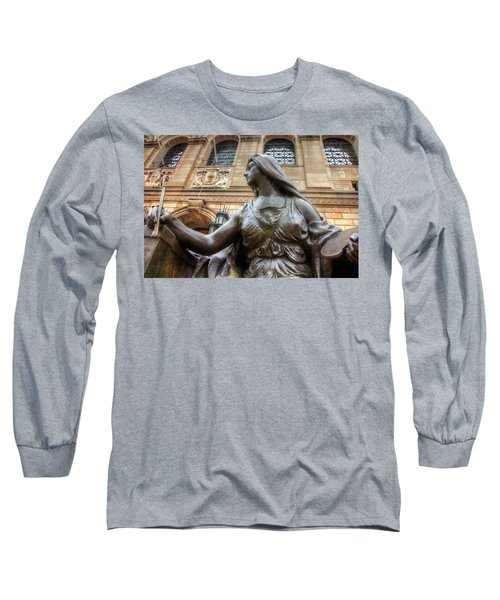 Long Sleeve T-Shirt featuring the photograph Boston Public Library Lady Sculpture by Joann Vitali
