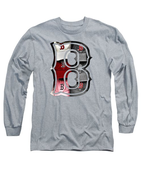 Boston Red Sox B Logo Long Sleeve T-Shirt by Joann Vitali