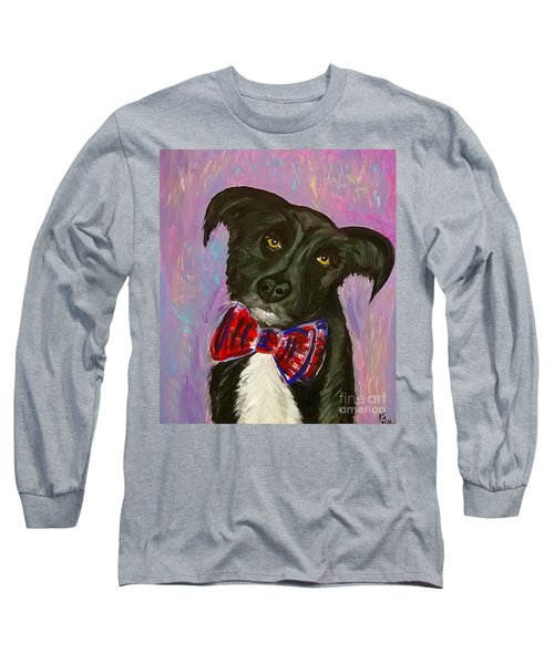 Long Sleeve T-Shirt featuring the painting Bow Tie Boy by Ania M Milo