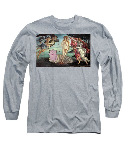Long Sleeve T-Shirt featuring the digital art Botticellimon Birth Of Venus by Greg Sharpe