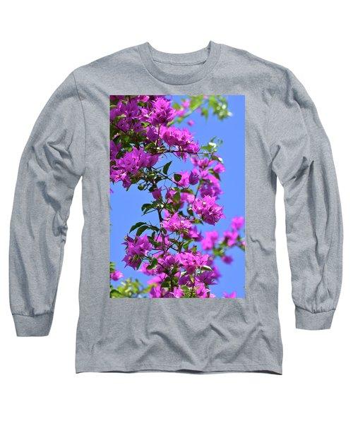 Bougainvillea And Sky Long Sleeve T-Shirt