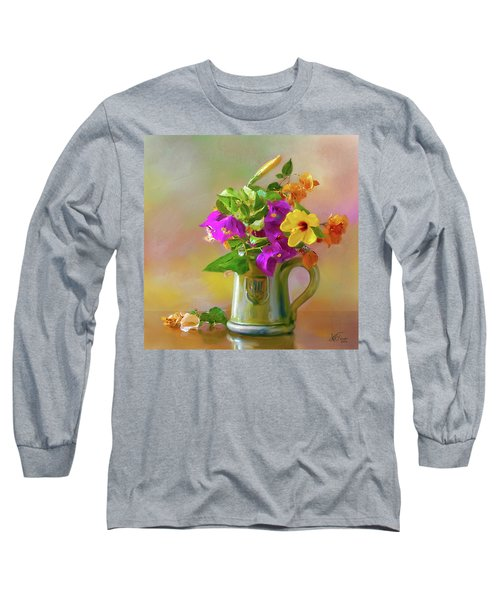 Bougainvilleas In A Green Jar. Long Sleeve T-Shirt