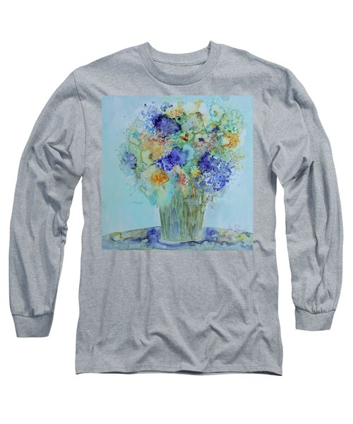 Bouquet Of Blue And Gold Long Sleeve T-Shirt by Joanne Smoley