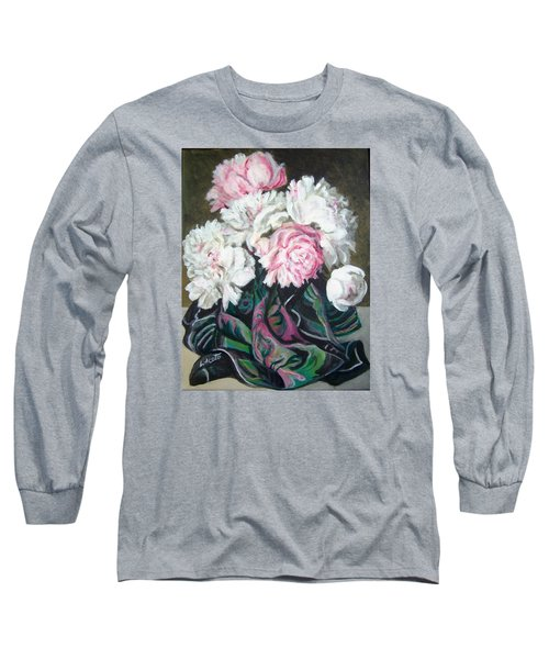 Long Sleeve T-Shirt featuring the painting Bouquet Of Peonies by Laura Aceto