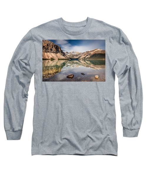Long Sleeve T-Shirt featuring the photograph Bow Lake Glorious Reflection by Pierre Leclerc Photography
