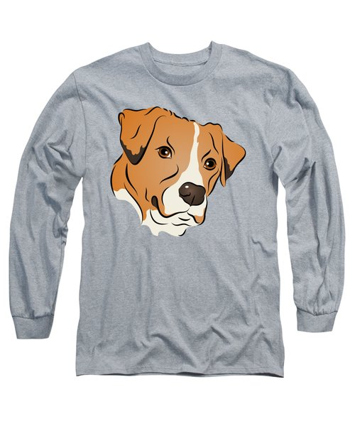 Boxer Mix Dog Graphic Portrait Long Sleeve T-Shirt by MM Anderson