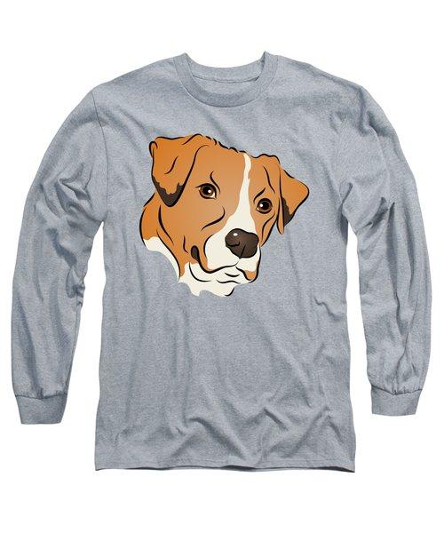 Boxer Mix Dog Graphic Portrait Long Sleeve T-Shirt