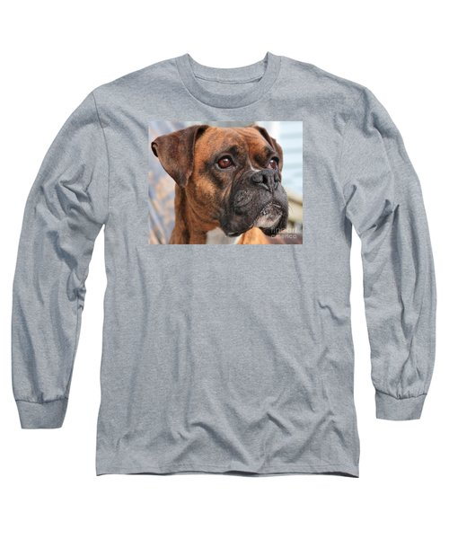 Boxer Portrait Long Sleeve T-Shirt by Debbie Stahre