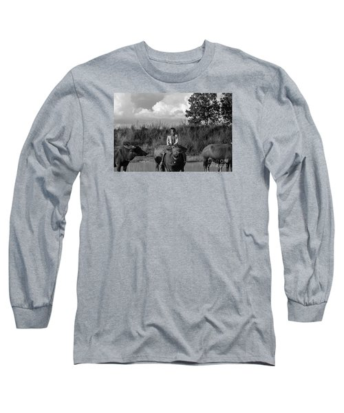 Long Sleeve T-Shirt featuring the photograph Boy And Cows by Arik S Mintorogo