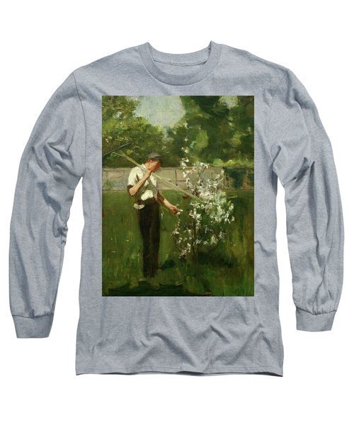 Long Sleeve T-Shirt featuring the painting Boy With A Grass Rake by Henry Scott Tuke
