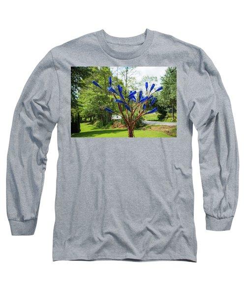 Brass Tree, Blue Bottle Leaves Long Sleeve T-Shirt