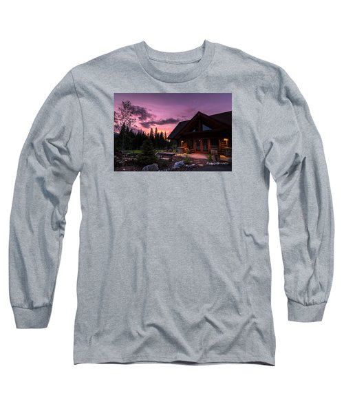 Breck Nordic Lodge Sunset Long Sleeve T-Shirt by Michael J Bauer