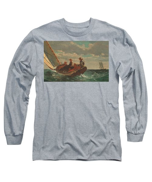 Long Sleeve T-Shirt featuring the painting Breezing Up A Fair Wind - 1876 by Winslow Homer