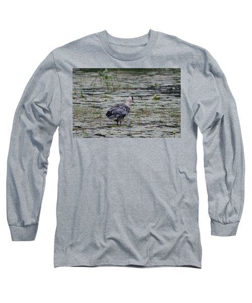 Breezy Blue- Great Blue Heron Long Sleeve T-Shirt by David Porteus