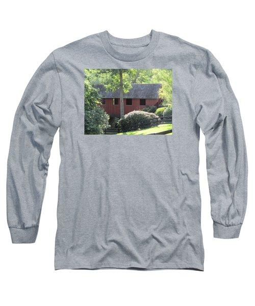 Bridge At Pont Rouge Farm Long Sleeve T-Shirt by Charlotte Gray