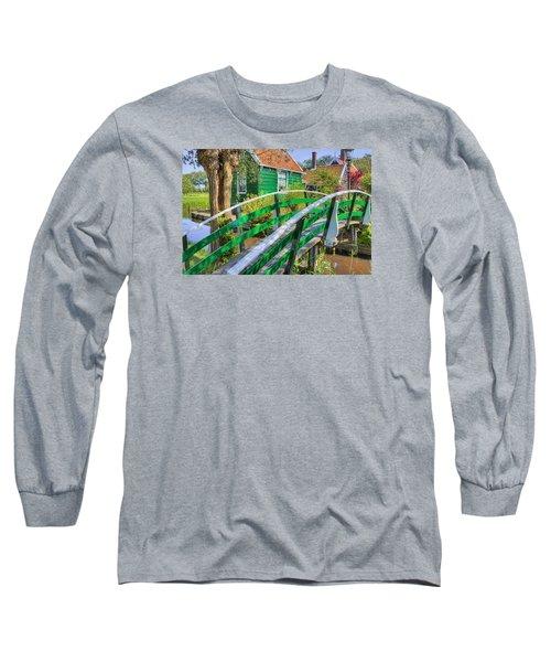 Bridge To The Village Long Sleeve T-Shirt by Nadia Sanowar