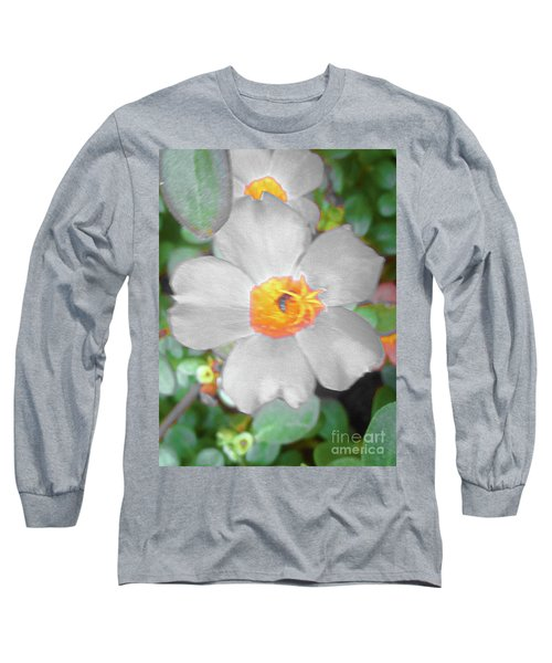 Bright White Vinca With Soft Green Long Sleeve T-Shirt