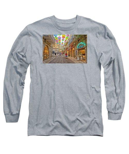 Brollies Over Jerusalem Long Sleeve T-Shirt by Uri Baruch