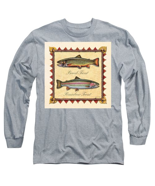 Brook And Rainbow Trout Creme Long Sleeve T-Shirt by JQ Licensing