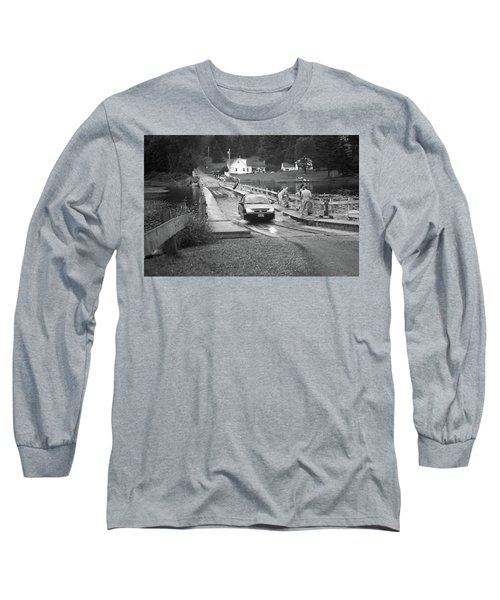 Long Sleeve T-Shirt featuring the photograph Brookfield, Vt - Floating Bridge 3 Bw by Frank Romeo