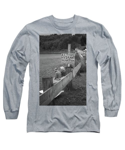 Long Sleeve T-Shirt featuring the photograph Brookfield, Vt - Floating Bridge 4 Bw by Frank Romeo