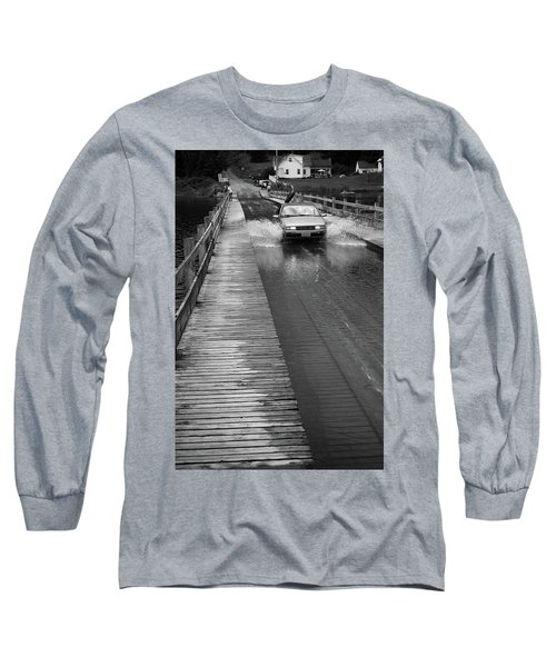 Long Sleeve T-Shirt featuring the photograph Brookfield, Vt - Floating Bridge Bw by Frank Romeo