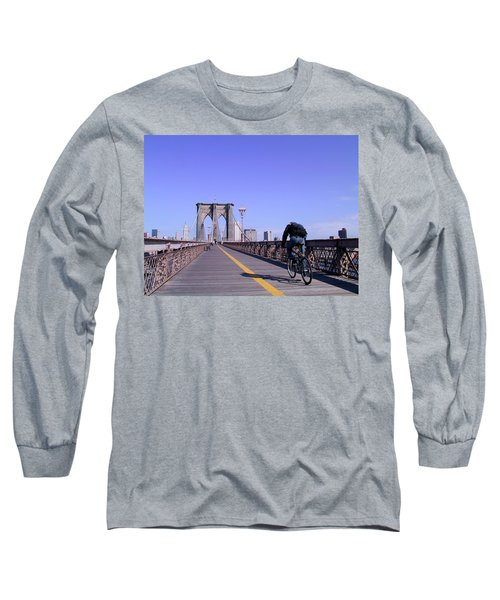 Brooklyn Bridge Bicyclist Long Sleeve T-Shirt