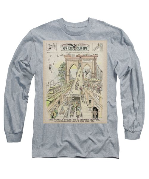 Long Sleeve T-Shirt featuring the photograph Brooklyn Bridge Trolley Right Of Way Controversy 1897 by Daniel Hagerman