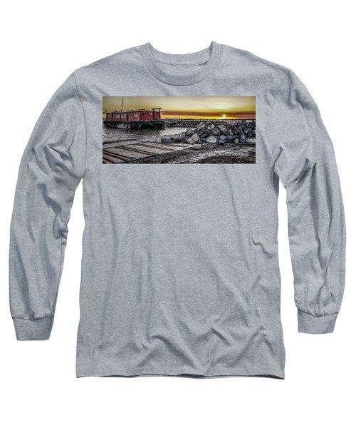 Brooklyn Waterfront Sunset Long Sleeve T-Shirt by Jeffrey Friedkin