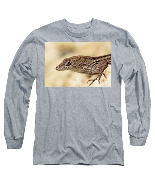 Long Sleeve T-Shirt featuring the photograph Brown Anole by Doris Potter