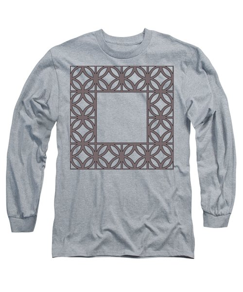 Long Sleeve T-Shirt featuring the digital art Brown Circles And Squares by Chuck Staley