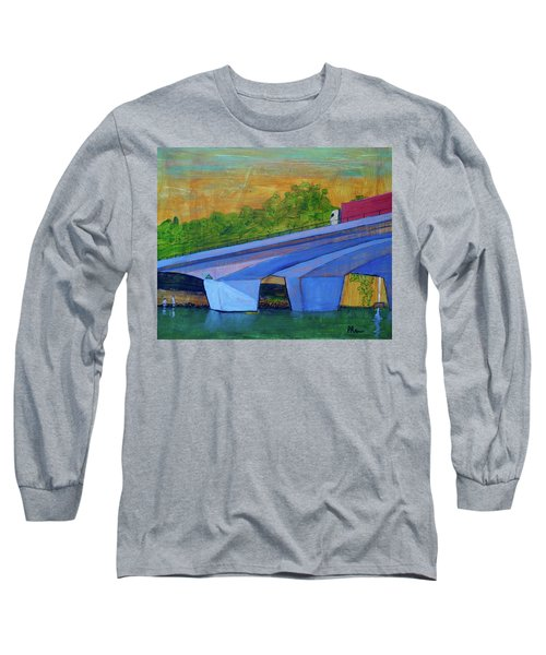 Long Sleeve T-Shirt featuring the painting Brunswick River Bridge by Paul McKey
