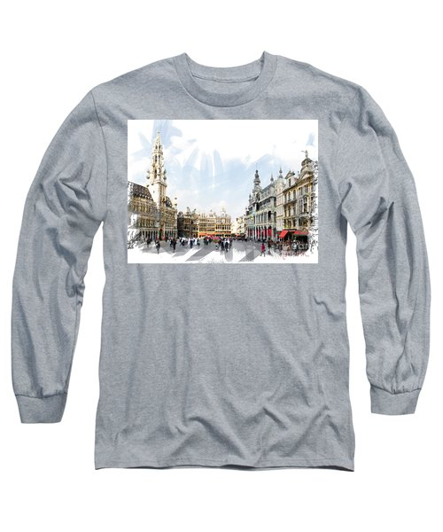 Brussels Grote Markt  Long Sleeve T-Shirt by Tom Cameron