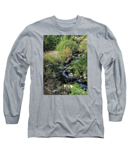 Long Sleeve T-Shirt featuring the photograph Bubbling Brook by Nancy Marie Ricketts