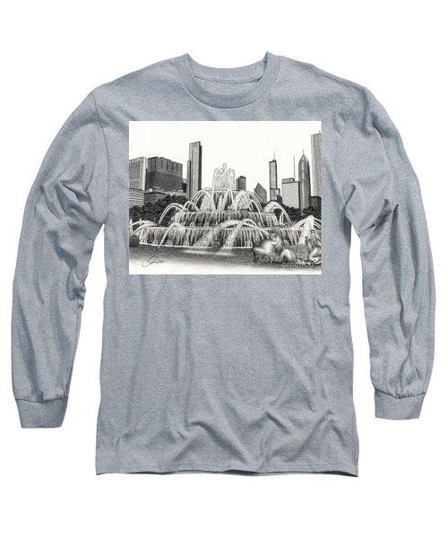Buckingham Fountain Drawing Long Sleeve T-Shirt