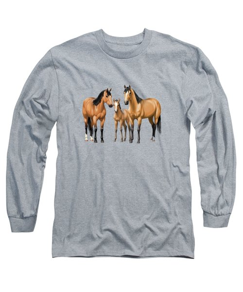 Buckskin Horses In Winter Pasture Long Sleeve T-Shirt