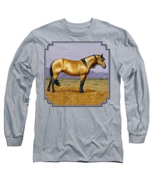 Buckskin Mustang Stallion Long Sleeve T-Shirt