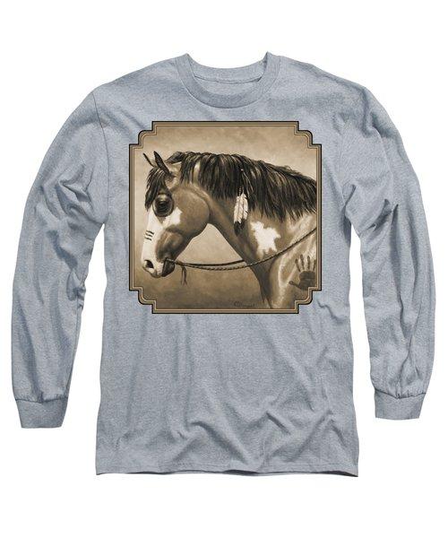 Buckskin War Horse In Sepia Long Sleeve T-Shirt by Crista Forest