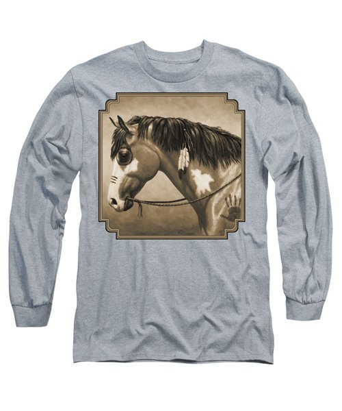 Buckskin War Horse In Sepia Long Sleeve T-Shirt