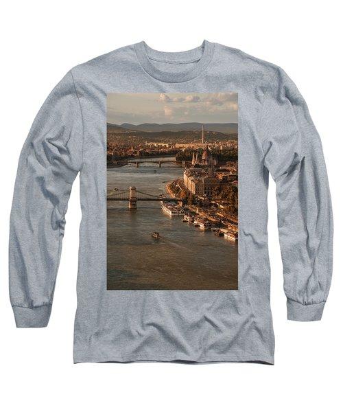 Budapest In The Morning Sun Long Sleeve T-Shirt by Jaroslaw Blaminsky