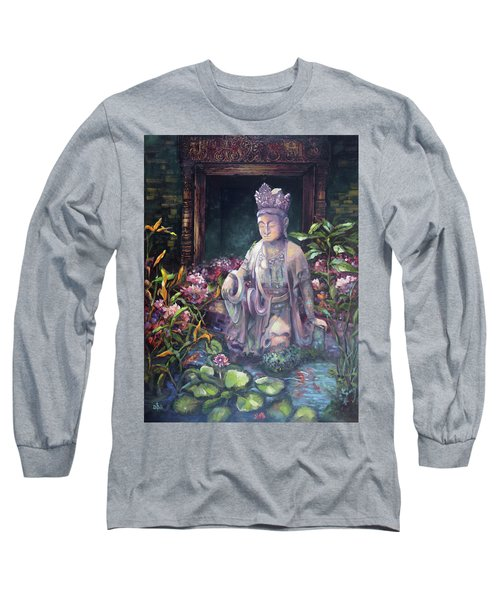 Budda Statue And Pond Long Sleeve T-Shirt
