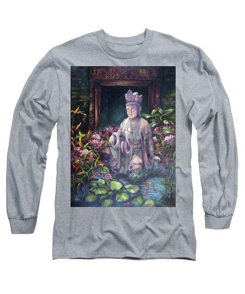Budda Statue And Pond Long Sleeve T-Shirt