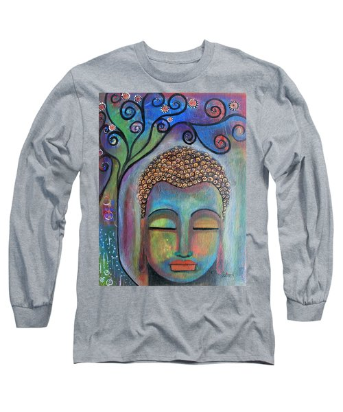 Long Sleeve T-Shirt featuring the painting Buddha With Tree Of Life by Prerna Poojara