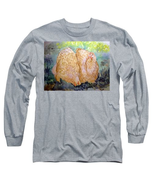 Buff Orpington Hens In The Garden Long Sleeve T-Shirt