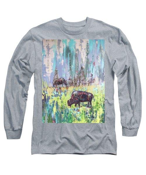Buffalo Grazing Long Sleeve T-Shirt
