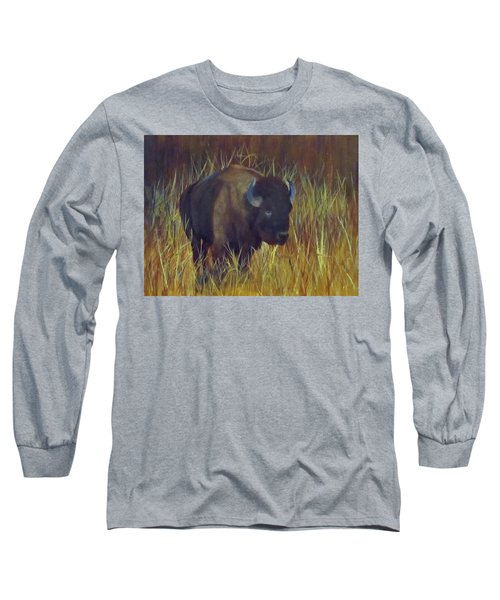 Long Sleeve T-Shirt featuring the painting Buffalo Grazing by Roseann Gilmore